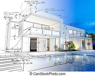 Villa technical draft - 3D rendering of a luxurious villa...