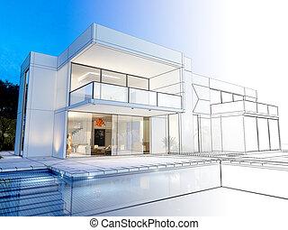 Villa technical rendering - 3D rendering of a luxurious ...