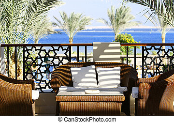 Villa Terrace - Villa terrace with wicker furniture and sea...