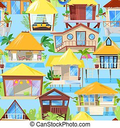 Villa vector facade of house building and tropical resort hotel on ocean beach in paradise illustration set of bungalow in village seamless pattern background