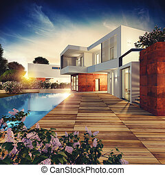 villa, vertolking, project., luxe, 3d