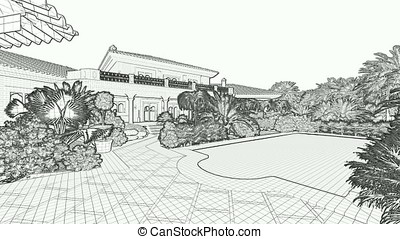 Villa with swimming pool for sale, 3D sketch to RGB