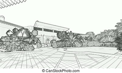 Villa with swimming pool for sale, sketch to RGB