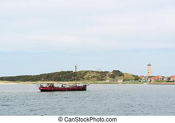 Village and harbor of Dutch wadden island Terschelling