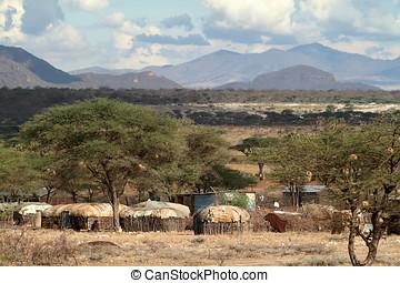 Village and houses of the f Samburu tribe in Kenya