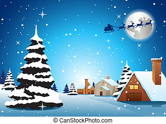 village are on xmas night and santa fly away to send gift to...
