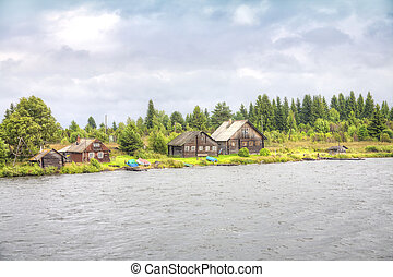 Village ashore of Lake Onega