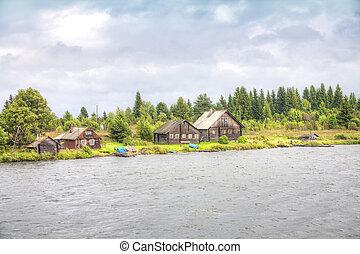 Village ashore of Lake Onega