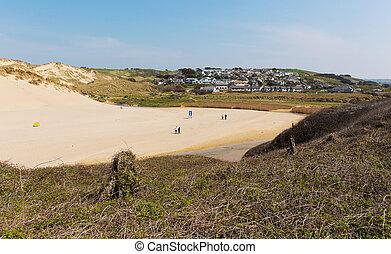 Village at Holywell Bay Cornwall uk