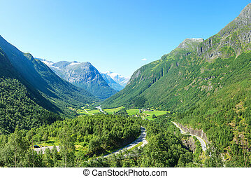 Village at the foot of mountain in Norway