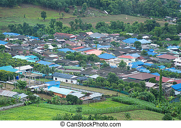 Village at the foot of the mountain