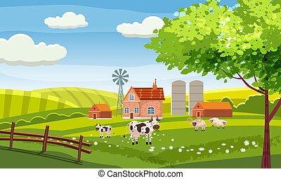 village, bâtiments, animaux, collines, ferme, champs, baner, isolé, illustration, campagne, vecteur, vert, affiche, vaches, rural, sheeps., paysage
