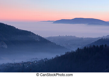 Village between the mountains - Morning view of a village...