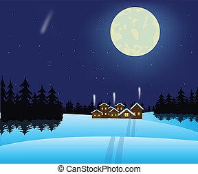 village, bois, hiver, nuit