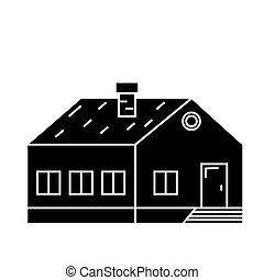 Village building black icon concept. Village building  vector sign, symbol, illustration.