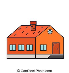 Village building line icon concept. Village building flat vector sign, symbol, illustration.