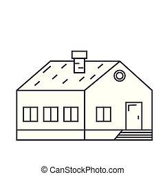 Village building thin line icon concept. Village building linear vector sign, symbol, illustration.