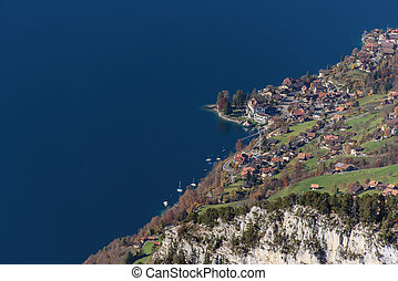 Village by the lake - A small town or village by a lake