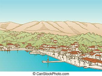Village by the sea vector