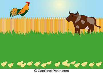 Village card concept with rooster and cow