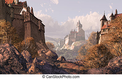 A medieval village in the foreground with a castle fortress off in the distance. Original illustrative composition, created by me using Vue 3D software.