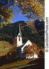 village church in the Austrian mountains - Steeple of...