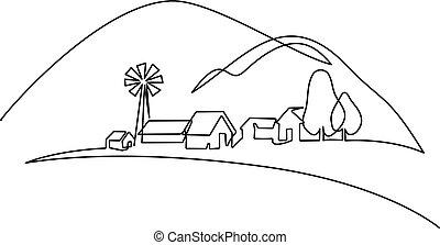 village, colline, paysage