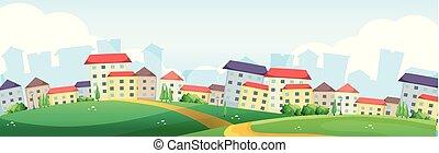 village, collines, fond, scène