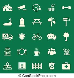 Village color icons on green background