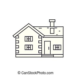Village cottage thin line icon concept. Village cottage linear vector sign, symbol, illustration.