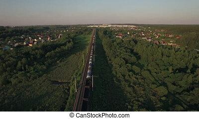 village, courant, train, vue aérienne