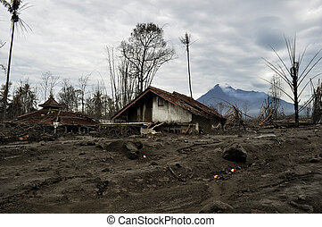 Village Damaged by Pyroclastic - Houses buried after natural...