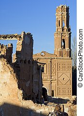 village demolished Belchite - Tower in Belchite, Belchite...