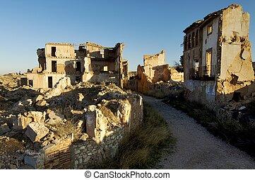 village demolished - Belchite village destroyed in a bombing...
