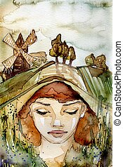 village - watercolor illustration of a beautiful, delicate...