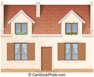 village, façade, maison