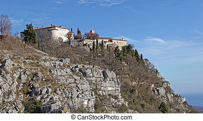 Village Gourdon at Top of Hill in South France