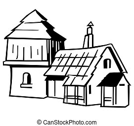 Village house - Black and White Cartoon Illustration, Vector