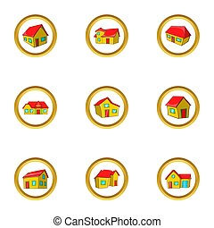 Village house icon set, cartoon style