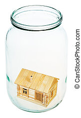 village house in glass jar
