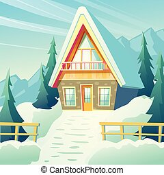 Village house in winter mountains cartoon vector