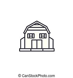 Village House linear icon concept. Village House line vector sign, symbol, illustration.