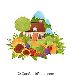 Village house on a background of mountains. Vector illustration.