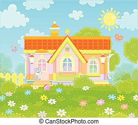 Village house on a sunny summer day