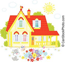 Village house - Vector illustration of a country house, a...