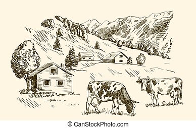 village houses and farmland. vector sketch drawn by hand on...