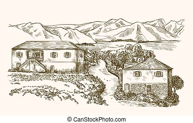 village houses and farmland