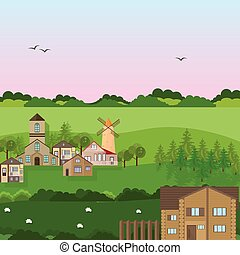 Village houses in a field. Vector green nature flat style