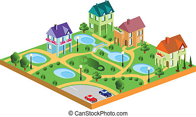 village houses in isometric projection