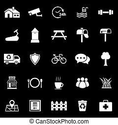 village, icônes, sur, arrière-plan noir